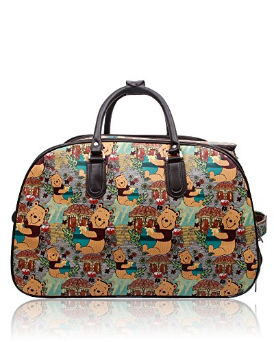 Foxlady Unisex Carry-on Winnie the Pooh Cartoon Print Brown Small Luggage Travel Bag Suitcase