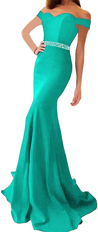 Lnxianee Women's Off Shoulder Beaded Formal Prom Evening Dresses