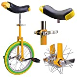 AW 16' Inch Wheel Unicycle Leakproof Butyl Tire Wheel Cycling Outdoor Sports Fitness Exercise Yellow Green