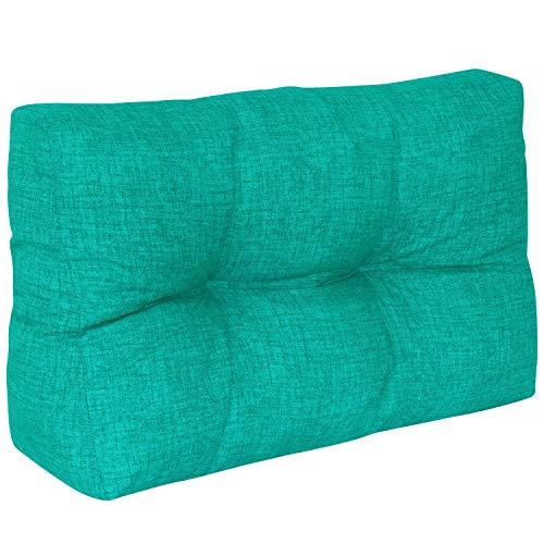 DILUMA | Cojín de Respaldo Corto 60x40 cm Turquesa | Cojín Confort para sofás palés Repelente a Las Manchas