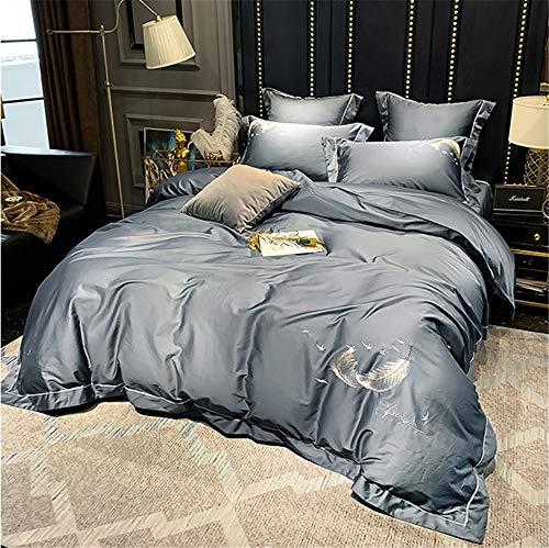 LYXIANG Duvet Covers, European Style Light Long-Staple Cotton Solid Color Four-Piece Cotton Double with Zipper Closure,F,1.5/1.8m (200 * 230)