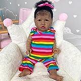 Zero Pam 22 Inch 55cm Lifelike Reborn Baby Doll Black Skin Girl Newborn Toddler Babies Dolls Realistic Soft Silicone Vinyl Full Body Washable Cute Girls Toy
