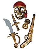 GIFTEXPRESS 5-piece Halloween Pirate Costume Accessories for Kids, Pirate Role Play Set/Halloween Costumes for Boys/Pirate Paraphernalia (Pirate Sword, Compass, Dagger, Mask, Gun)