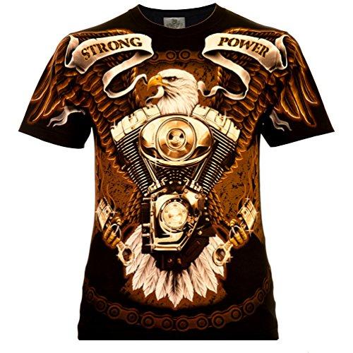 Strong Power Herren T-Shirt Schwarz Gr. 2XL Komplett Bedruckt