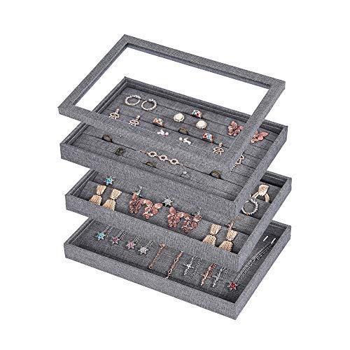 Bandeja apilable para joyas con tapa, organizador de joyas, para cajón, pendientes, collar, organizador de anillos, caja de regalo...