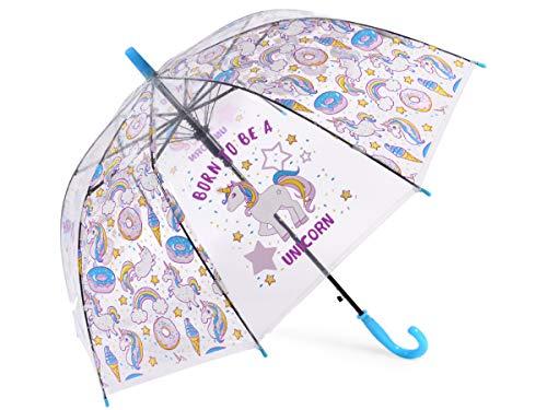 Alsino Kinder Regenschirm Leichter Stockschirm Wetterfest Einhorn-Designs Blau Transparent Griff mit Trillerpfeife