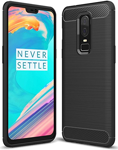 OnePlus 6 case, Sucnakp TPU Shock Absorption Technology Raised Bezels Protective Case Cover for OnePlus 6 Smartphone (Black)