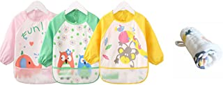 Momloves Cute Cartoon Toddler Baby Waterproof Sleeved Bib, Baby Toddler Smock, FREE BABY TOWELS(6 Months-3 Years)