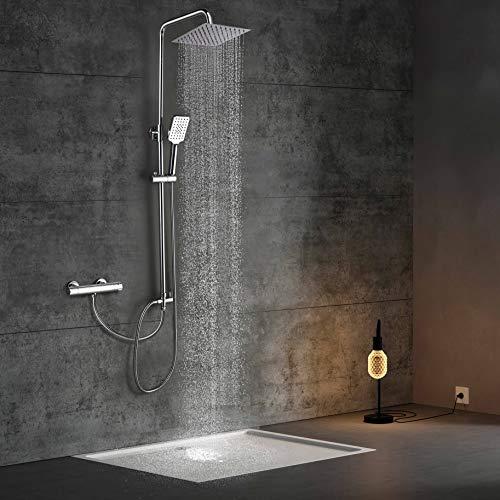 Elbe Duschsystem ohne Armatur, Regenduschset aus Edelstahl, Duschsäule mit quadratische Kopfdusche, Duschstange von 79-119cm verstellbar
