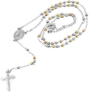 """Stainless Steel Gold Silver Rosary 3mm-8mm CCB Beads Cross Y Necklace 20""""-30"""" Chain for Women Men"""