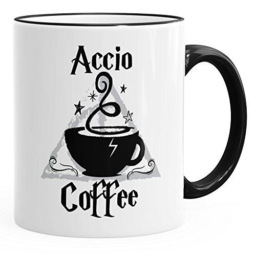 MoonWorks® Kaffee-Tasse Accio Coffee Spruch-Tasse Teetasse Keramiktasse schwarz Unisize