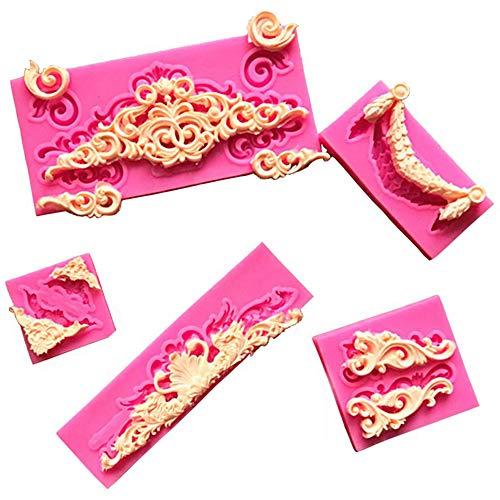 Molde de silicona para fondant de encaje, 7 piezas de estilo barroco Curlicues, moldes de silicona para fondant de encaje, moldes de chocolate para dulces, decoración de pasteles, decoración de cupcak