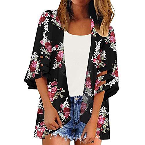 YYH Vrouwen Losse Sjaal - Chiffon Bloemen Print Kimono Cardigan Cover Up Boho Zomer Casual Blouse Strand Badmode M Zwarte Bloemen