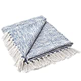 MOTINI Blue and White Throw Blanket Knitted Herringbone Woven Decorative Blankets Textured Cozy Throws for Bed Couch, 50' x 60' 100% Cotton