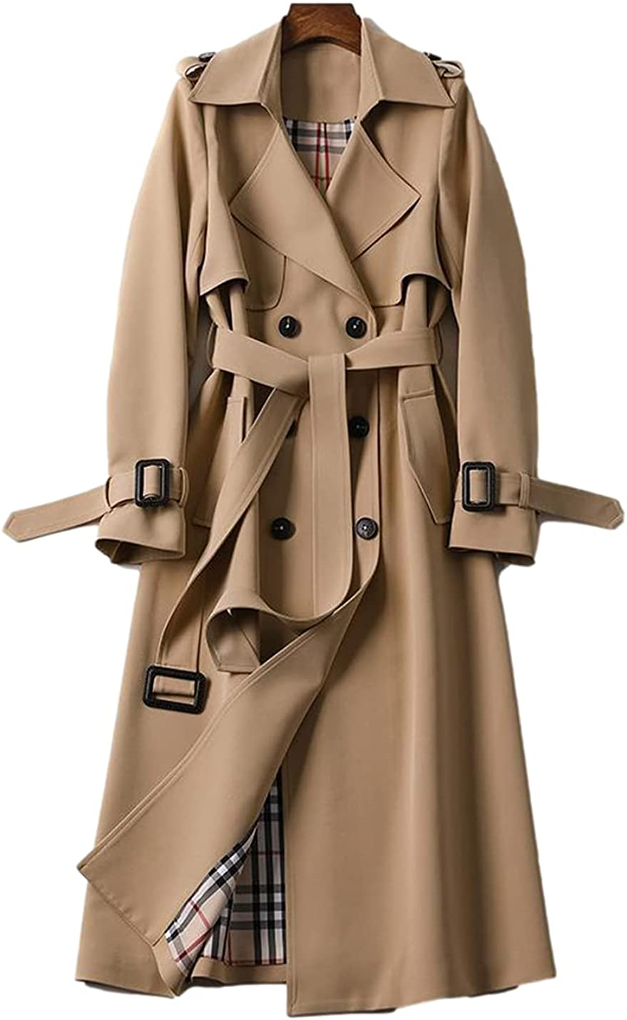 SeekMe Women's Double Now on sale Breasted Trench Coat Over Deluxe Lightweight Long
