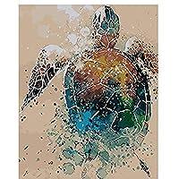DIY 数字 油絵 塗り絵 キット 大人 子ども 塗り絵 亀動物 デジタル油絵 手塗り 数字キットによる絵画 絵かき インテリア 壁飾り ホームデコレーション 40x50cm(額縁なし)
