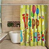 N\A Bunter Duschvorhang-Geburtstag Alles Gute zum Geburtstag in niedlichen Formen Lustige Figuren mit mehrfarbigen Eissüßigkeiten & Luftballons