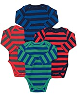 Leveret 4 Pack Long Sleeve Bodysuit 100% Cotton Stripes Boy 12-18 Months Multi 1