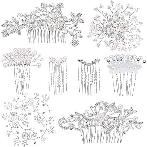 44 Pieces Wedding Hair Comb Faux Pearl Crystal Bride Hair Accessories Hair Side Comb Clips U-shaped...