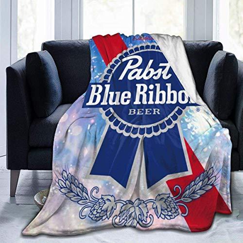 Pabst Blue Ribbon Bier Weiche Plüsch-Überwurfdecke, super flauschig, warm, leicht, Thermo-Fleece-Decken für Couch, Bett, Sofa, alle Jahreszeiten, 127 x 152,4 cm