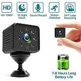 AILSAYA Spionagekamera Versteckte Mini Kleine Full Hd 1080p Kamera, 7-8 Stunden Langzeit Videoaufzeichnung, Auto Ir Nachtsicht, Bewegungserkennung Sicherheitsüberwachungskamera Eingebauter Akku
