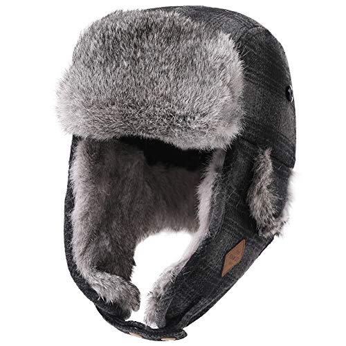 Comhats Winter Rabbit Real Fur Trapper Aviator Hat Ear Flaps Cold Weather...
