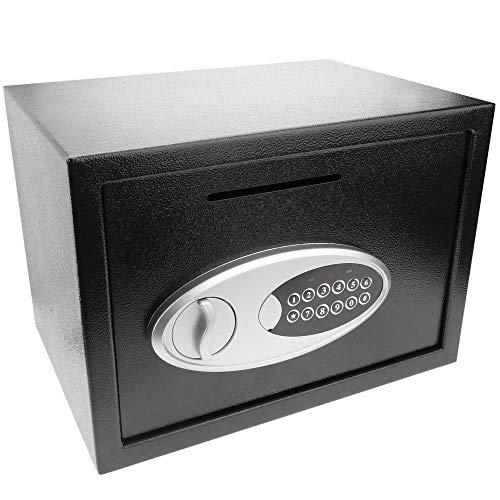 PrimeMatik - Caja Fuerte de Seguridad de Acero con Llaves y Ranura 35x25x25cm Negra