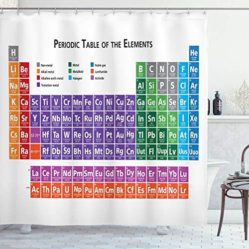ABAKUHAUS Schule Duschvorhang, Periodischen Tabellen Elementen, Wasser Blickdicht inkl.12 Ringe Langhaltig Bakterie & Schimmel Resistent, 175 x 220 cm, Multicolor