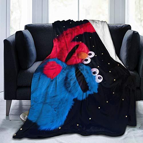 "Ultra Soft Flannel Fleece Throw Blanket Elmo and Cookie Monster All Season Lightweight Living Room Bedroom Sofa Quilt 50""X40""for Kids"