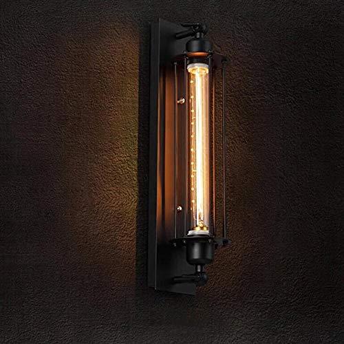 GOTOTO buitenwandlamp, LED-lamp, verlichting voor tuin, schuur, veranda, garage, werkplaats, patio, 10 x 48 cm, E27, zwart