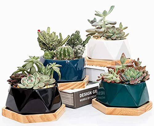 4 Inch Ceramic Pots for Succulent Plants, Modern Mini Garden Plant Pots with Drainage Holes and Bamboo Saucers, Small Hexagon Flower Pots Set Indoor for Cactus Planters, Set of 4 (4 Colors)