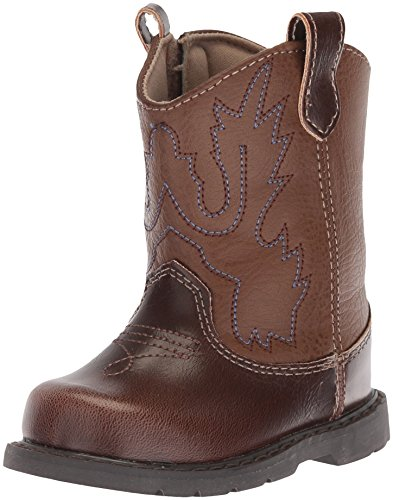 Baby Deer Kids Round Toe Western Boot, Brown, 3 US Unisex Toddler