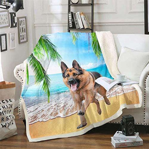 Manta de forro polar con estampado de pastor alemán en 3D, para niños, niñas, hojas tropicales, de palma, manta de felpa hawaiana, para sofá, cama, bebé, 76 x 106 cm