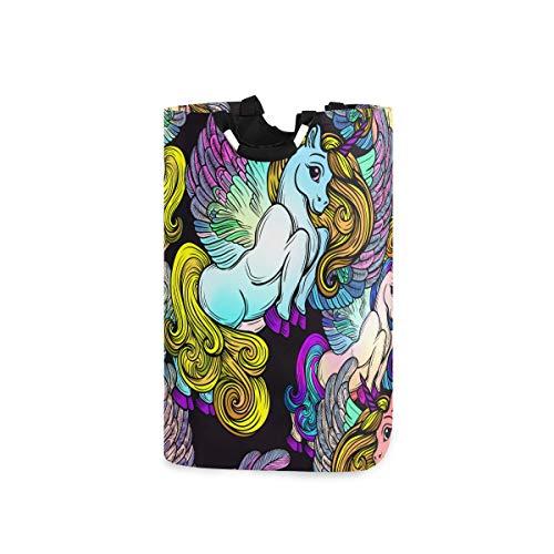 ZOMOY Multifunktionale Faltbarer Schmutzige Kleidung Wäschekorb,Nahtlose Muster Vektor Flügel schöne Linie,Household Wäschebox Spielzeug Organizer Aufbewahrungsbeutel mit Henkel