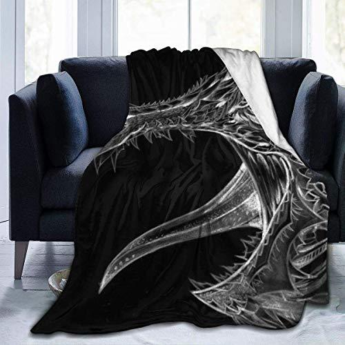 YJWLO Manta de Forro Polar Suave y cálida con diseño de dragón Tribal, para Cama, sillón, Sala de Estar y Todas Las Estaciones, Increíble Tribal de dragón, 60