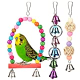Fdit Mascota Pájaro Columpios de Juguete Campanas Colorido de Madera Metal Loro Jaula Hamaca Colgando Juguetes 5 Unids/Set