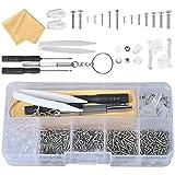 500Pcs Kit de Reparación de Gafas con Tornillos Tuercas Almohadillas de Silicona Gancho para la Oreja PinzasPaño de...