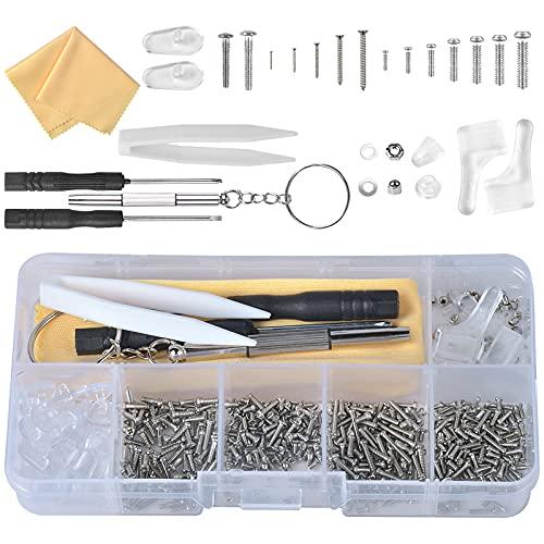 500Pcs Kit de Reparación de Gafas con Tornillos Tuercas Almohadillas de Silicona Gancho para la Oreja PinzasPaño de Gafas para Anteojos Adecuado para gafas, relojes, joyas