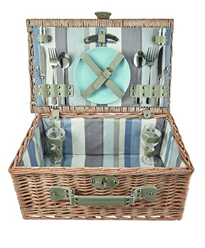 The Summer Living ~h picknickmand, gestreept, blauw/beige