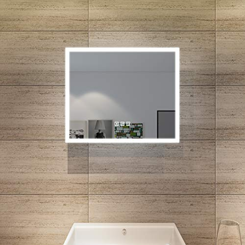 SONNI Badspiegel mit Beleuchtung 60 x 50 cm LED Bad Speigel mit Bluetooth Lautsprecher kaltweiß Touchschalter LED Badezimmer Lichtspiegel