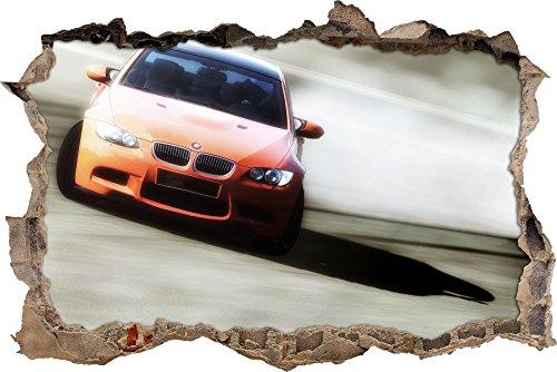 Pixxprint 3D_WD_S1647_92x62 oranger BMW im Sonnenschein Wanddurchbruch 3D Wandtattoo, Vinyl, bunt, 92 x 62 x 0,02 cm