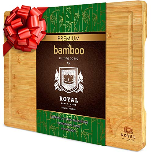 EXTRA LARGE Organic Bamboo Cutting Board with Juice Groove - Kitchen Chopping Board for Meat...