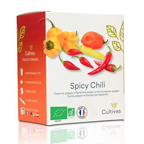 🌶️ Cultivea Mini Kit - Chili Anzuchtset - 100% BIO Samen - Garten und genießen - Geschenkidee (Cayenne-Chili, Barak-Chilli, ungarischer Pfeffer, Kandis-Pfeffer, Hot Habanero Chili) - Scharf & Mild -