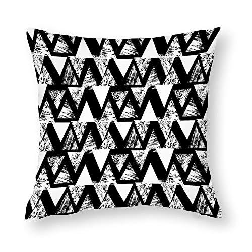 YY-one Fundas de almohada decorativas pintadas a mano con patrón audaz con triángulos, funda de cojín decorativa de algodón para sofá, silla, asiento, cuadrado, 50 x 50 cm