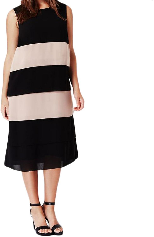 Marina Rinaldi Women's Diga colorblock Dress 12W   21 Black Beige