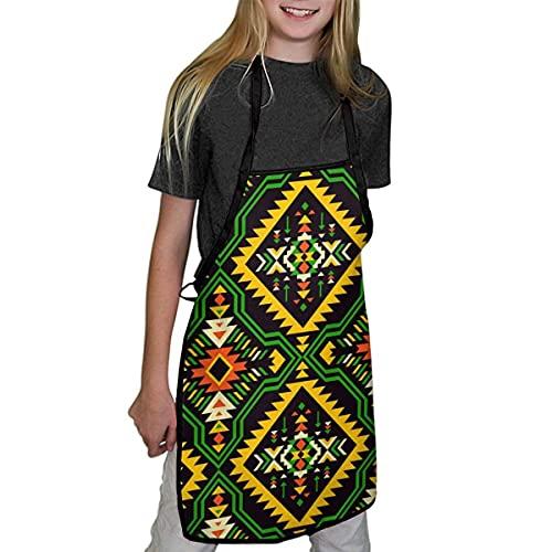 Lawenp Delantales para niños Delantales geométricos africanos Aztecas Indios nativos Americanos para niños niñas para niños Delantales de Chef de Cocina para cocinar, Hornear, Pintar y Fiestas