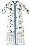 Chilsuessy Winter 2.5 Tog Kinder Schlafsack mit abnehmbaren Ärmeln Bio Babyschlafsack für Jungen und Mädchen von 1 bis 10 Jahre alt, Blau Pinguin, L/Koerpergroesse 100-130cm