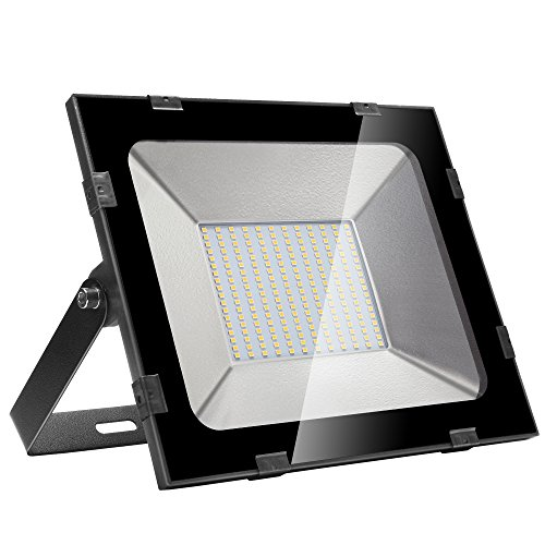 Yuanline Blanc froid extérieur LED Spotlights 300W 30000LM, 6000-6600k, ultra-mince et ultra-léger pour jardin, garage, patio, stade, usine, entrepôt, IP65 Carré résistant à l'eau (Blanc chaud, 150W)