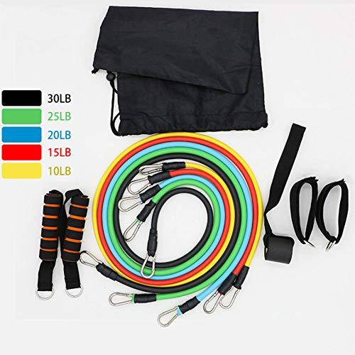 Fezbd fitnessbanden, 11 delen, spiertraining, weerstandstraining, riem, multifunctioneel pak, een trekkoord voor bodybuild-riem