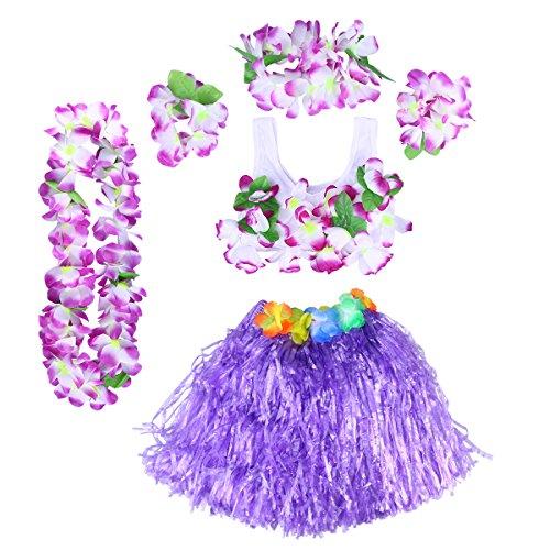 BESTOYARD Mädchen Hula Gras Rock Set Hawaiian Luau Tanz Rock Tropische Blume Leis Armbänder Stirnband Halskette BH Set